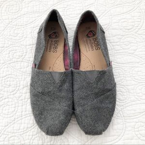 BOBS Sketchers Gray Plush Slip On Flats Shoes 7.5